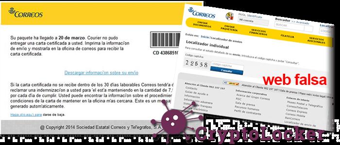 aviso Correos - Virus CryptoLocker